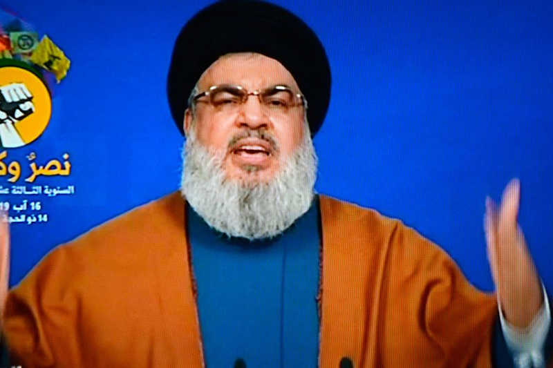 A TV grabbed handout picture from the Hezbollah's al-Manar TV shows Lebanese Hezbollah leader Hassan Nasrallah as he delivers a speech in August 2019
