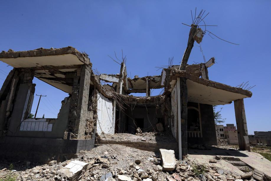 A destroyed house is seen in Sanaa, Yemen, on Thursday. Officials said Friday the Saudi-led coalition launched a series of air raids near the port city of Hudaydah.