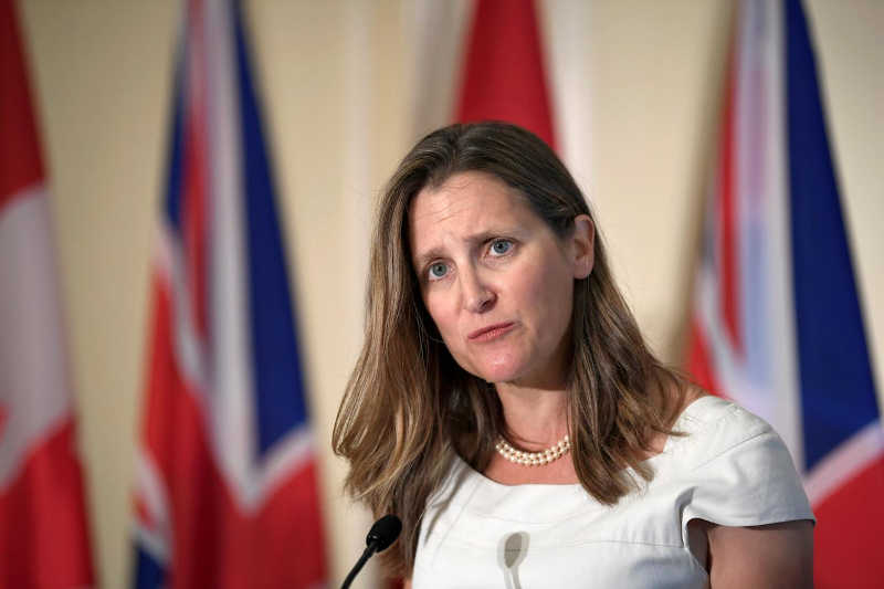 Canada's Foreign Minister Chrystia Freeland at a news conference following a meeting with Britain's Foreign Secretary Dominic Raab in Toronto, Ontario, Canada, August 6, 2019.