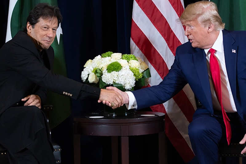 US President Donald Trump (R) shakes hands with Pakistani Prime Minister Imran Khan (L) during a meeting on the sidelines of the UN General Assembly in New York, September 23, 2019.