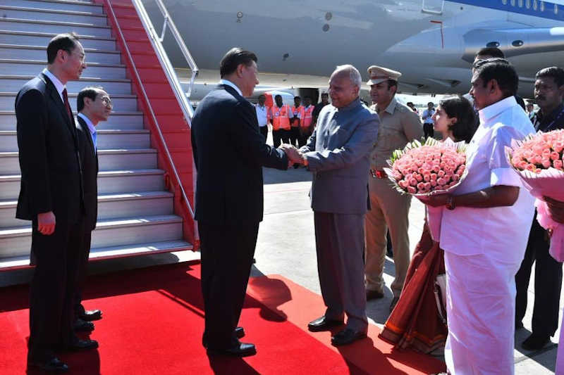 Chinese President Xi Jinping arrived in India Friday for a summit with Prime Minister Narendra Modi.