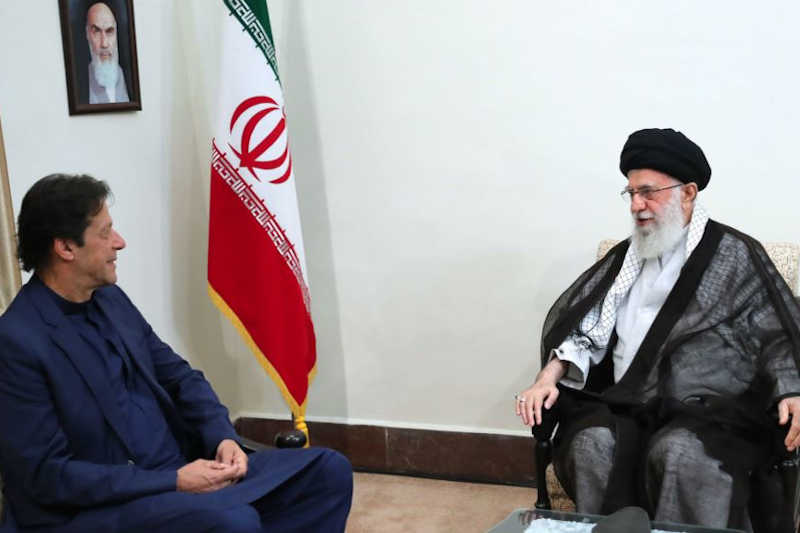 Pakistani Prime Minister Imran Khan meeting with Iran's Supreme Leader Ali Khamenei to discuss regional tensions. October 13, 2019
