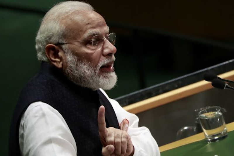 PM Narendra Modi speaks during the UN General Assembly meeting in New York, 27 Sept