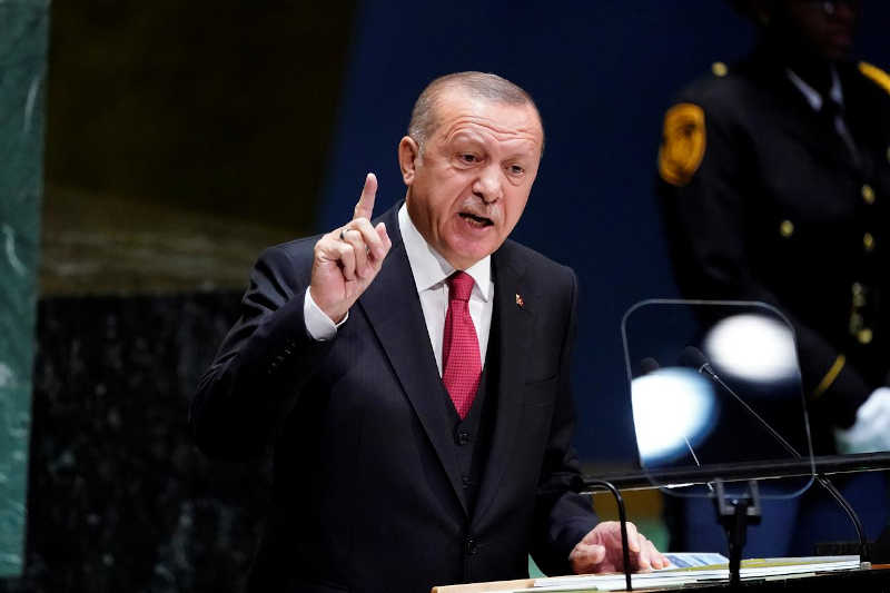 Turkey's President Recep Tayyip Erdogan addresses the 74th session of the United Nations General Assembly at U.N. headquarters in New York City, New York, U.S., September 24, 2019.