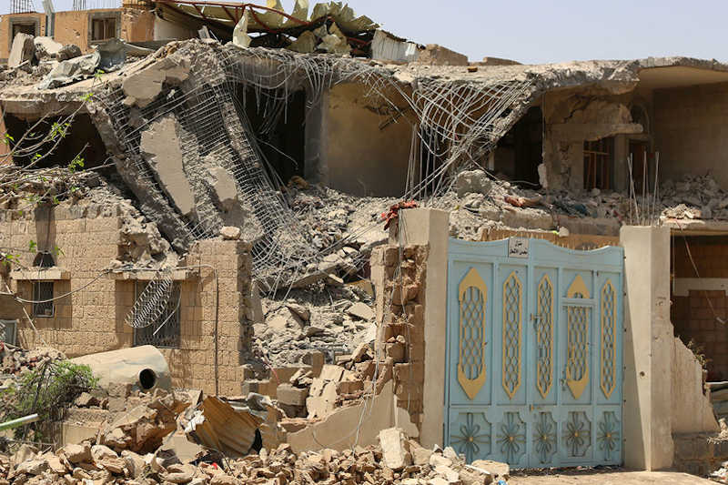 Houses in Sana'a, Yemen, destroyed by airstrikes.